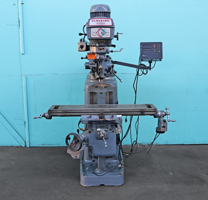 Clausing Kondia 9″ x 48″ Vertical Milling Machine with X, Z-Axis Powerfeeds